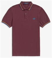Picture of Fred Perry Polo Shirt M3600 Mahogany / Amber / Nautical Blue