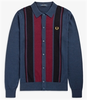 Picture of Fred Perry Shirt Colourblock Knitted Dark Carbon