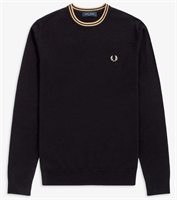 Picture of Fred Perry Knitwear Classic Crew Neck Black / Champagne