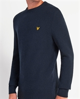 Picture of Lyle & Scott Knitwear Basket Weave Dark Navy