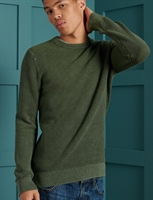Picture of Superdry Knitwear Academy Dyed Texture Crew Washed Dark Olive Green