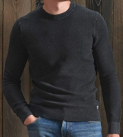 Picture of Superdry Knitwear Academy Dyed Texture Crew Washed Carbon Black