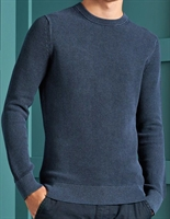 Picture of Superdry Knitwear Academy Dyed Texture Crew Washed Dark Storm Navy
