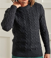Picture of Superdry Knitwear Jacob Cable Crew Magma Black Twist