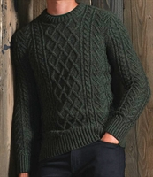Picture of Superdry Knitwear Jacob Cable Crew Black Cyprus Twist