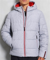 Picture of Superdry Jacket Sports Puffer Grey Marl/Risk Red