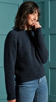 Picture of Superdry Ladies Knitwear Freya Tweed Crew Boston Navy Tweed