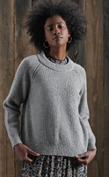 Picture of Superdry Ladies Knitwear Freya Tweed Crew Light Grey Tweed