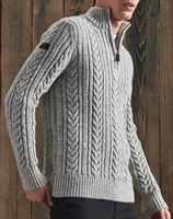 Picture of Superdry Knitwear Jacob Henley Concrete Twist