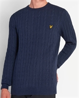 Picture of Lyle & Scott Knitwear Cable Knit Jumper Dark Navy Marl