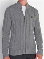 Picture of Lyle & Scott Knitwear Cable Zip Through Cardigan Mid Grey Marl