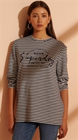 Picture of Superdry Ladies Top Stripe Graphic NYC Nautical Navy