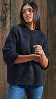 Picture of Superdry Ladies Knitwear Stitch Deflected Tunic Dark Navy