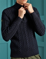 Picture of Superdry Knitwear Jacob Henley Downhill Navy