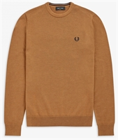 Picture of Fred Perry Knitwear Classic Crew Neck Caramel