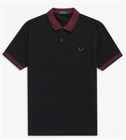 Picture of Fred Perry Polo Shirt Contrast Rib Black/Mahogany