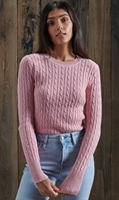 Picture of Superdry Ladies Knitwear Croyde Cable Nappa Pink Marl