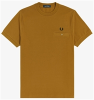 Picture of Fred Perry T-Shirt Pocket Detail Pique Dark Caramel