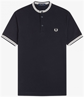Picture of Fred Perry Polo Shirt Textured Henley Navy