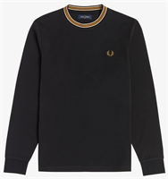 Picture of Fred Perry T-Shirt Tramline Tipped Long Sleeve Black