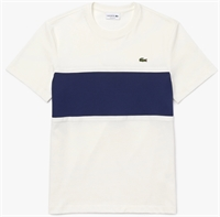 Picture of Lacoste T-Shirt Pique Panel White / Blue NL3