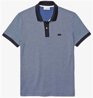Picture of Lacoste Polo Shirt Regular Fit Textured Cotton Navy/White UMR