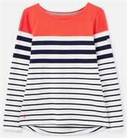 Picture of Joules Top Harbour Cream Navy Red Stripe