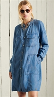 Picture of Superdry Ladies Shirt Dress Tencel Oversized Mid Wash