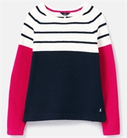 Picture of Joules Jumper Seaport Cream Navy Pink Stripe